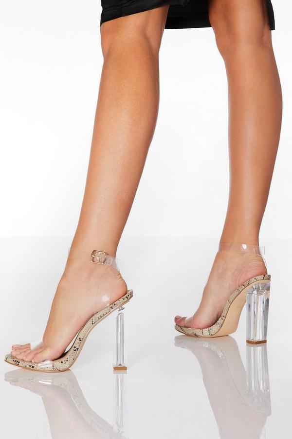 Snake Print Clear Block Heel Sandals