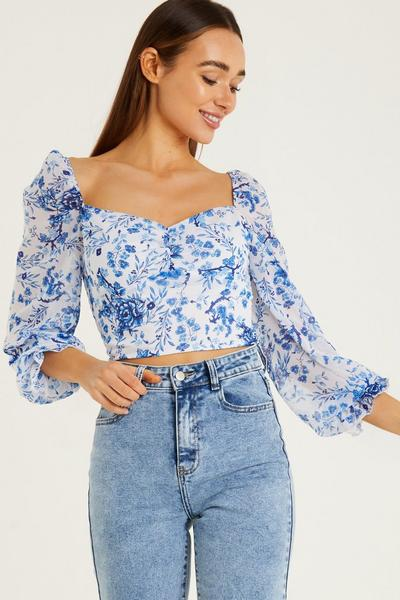 White Blue Floral Long Sleeves Frill Detail Crop Top