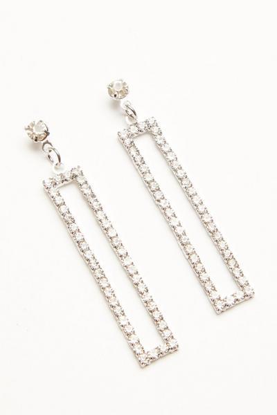 Silver Diamante Rectangle Earring