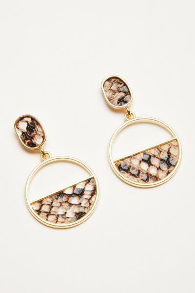 Gold Snake Print Circle Earrings