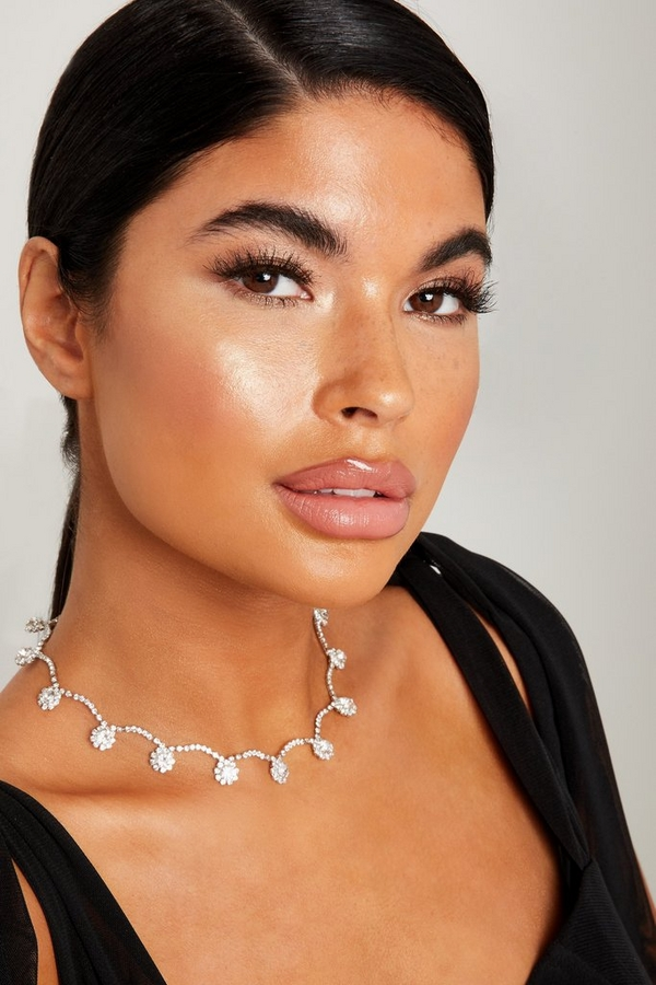 Silver Diamante Flower Necklace