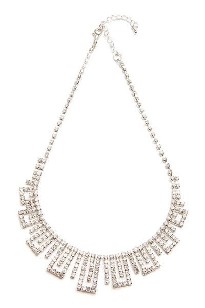 Silver Diamante Rectangle Necklace