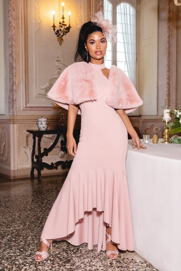 Vestido Petite Largo Rosa con Volantes