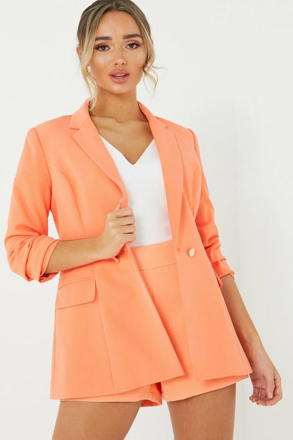 Coral 3/4 Sleeve Blazer Jacket