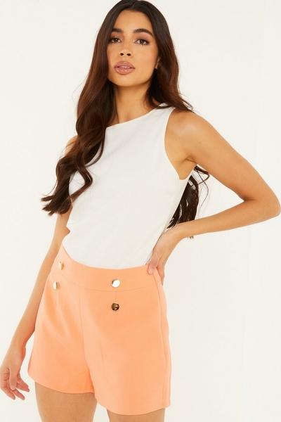 Coral Woven Gold Button Shorts