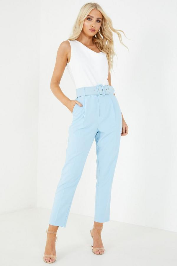 Blue High Waist Tapered Trousers