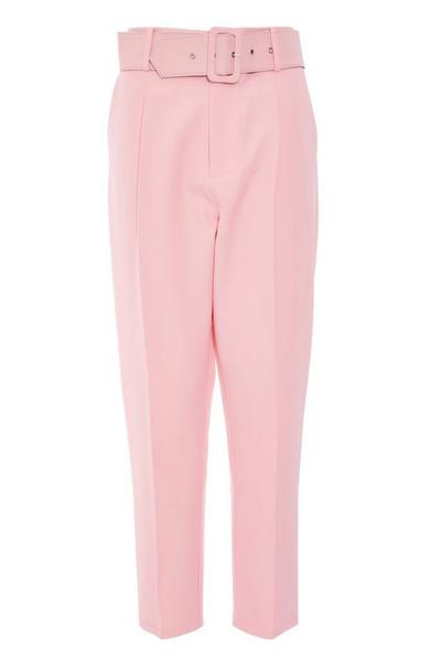 Pink High Waist Tapered Trousers