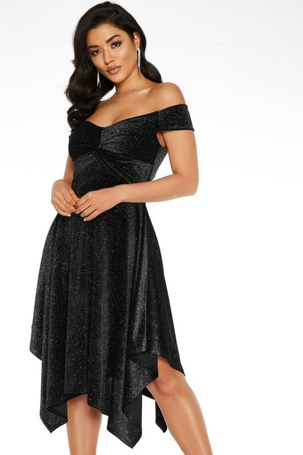 Vestido Negro Bardot con Purpurina