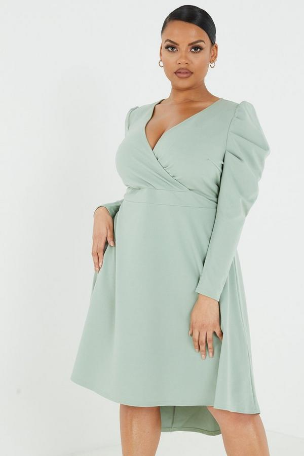 Curve Green Dip Hem Dress