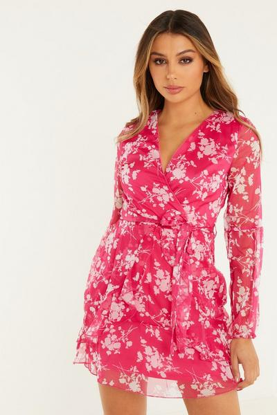 Hot Pink White Chiffon Floral Baloon Sleeves Wrap Front Skater Dress