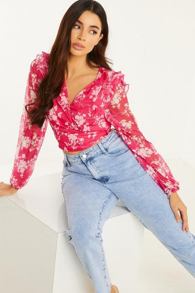 Hot Pink White Chiffon Floral Wrap Baloon Sleeves Crop Top