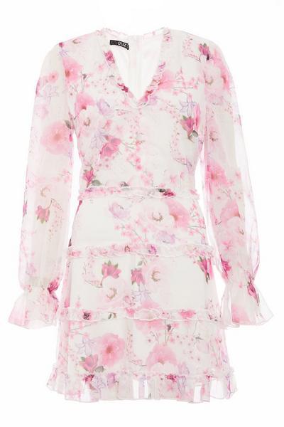 White Chiffon Floral V Front Dress