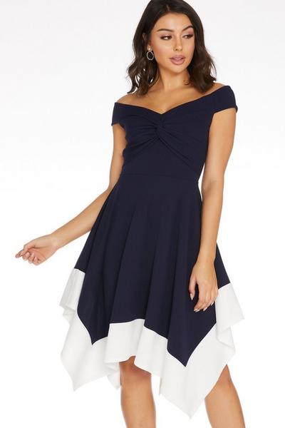 Navy Bardot Knot Front Dress