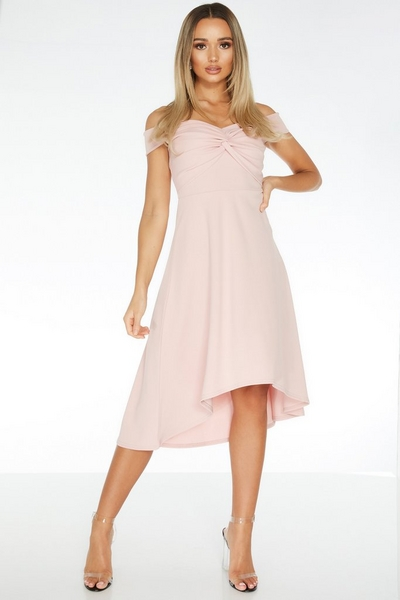 Pink Knot Front Dip Hem Dress