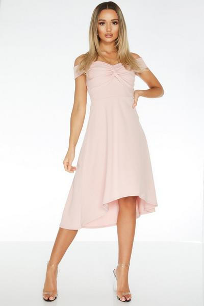 Pink Knot Front Dip Hem Dress