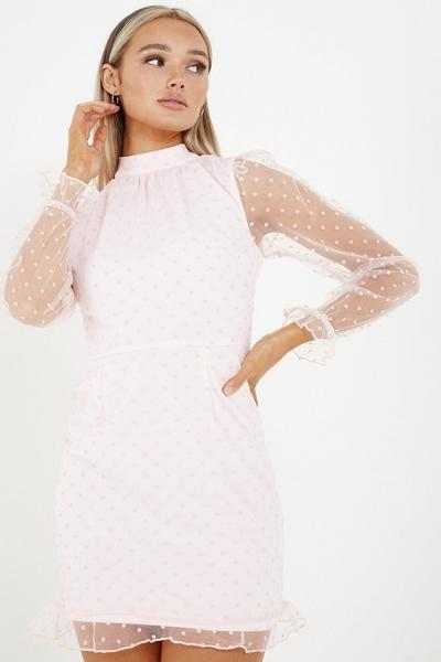 Pink Polka Dot Bodycon Dress