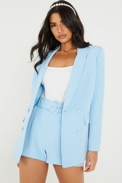 Blue Double Breasted Suit Jacket