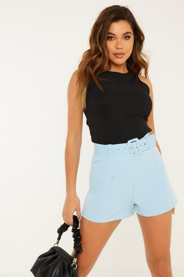 Pale Blue Belted Shorts