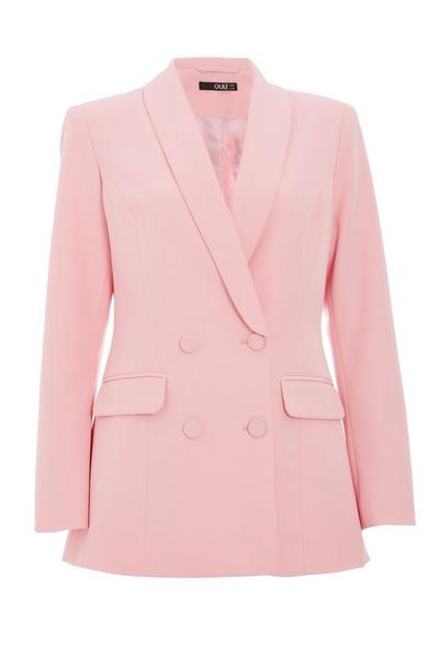 Pink Double Breasted Suit Jacket