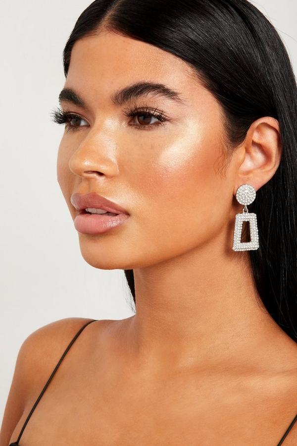 Silver Diamante Rectangle Earrings