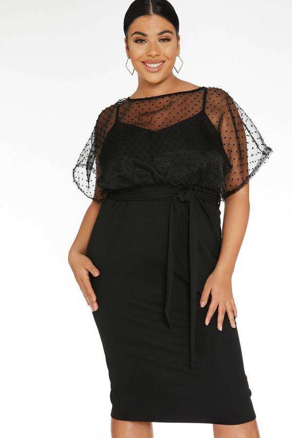 Plus Size Black Polka Dot Midi Dress
