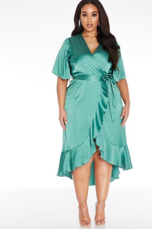 Curve Green Wrap Midi Dress