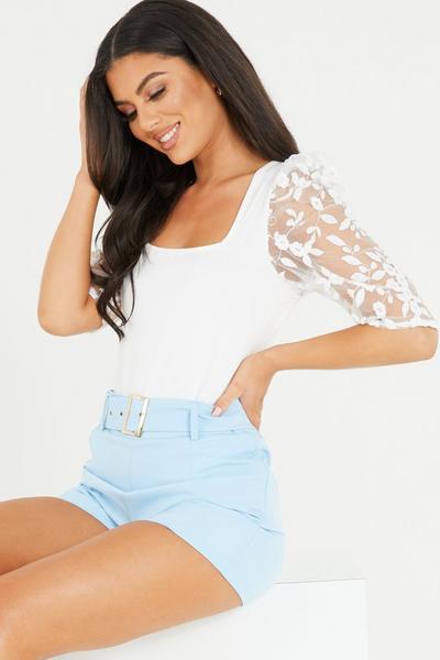 Cream Organza Floral Sleeve Bodysuit