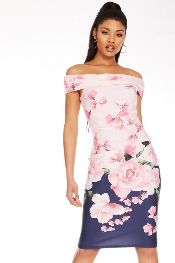Vestido Floral Rosa Bardot