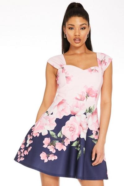 Pink Floral Sweetheart Skater Dress