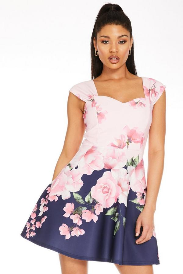 Pink Floral Sweetheart Skater Dress