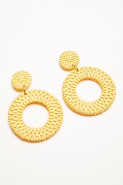Yellow Woven Circle Earrings