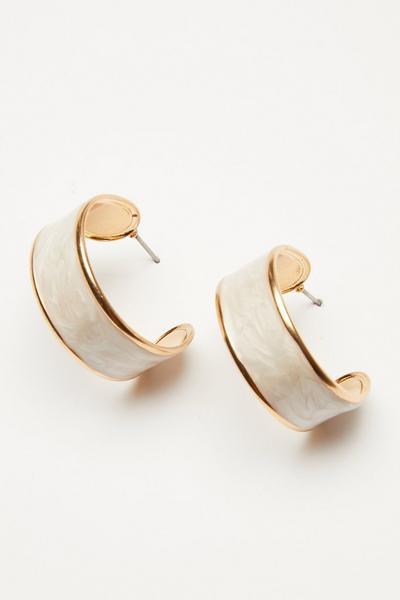 Cream Hoop Earrings