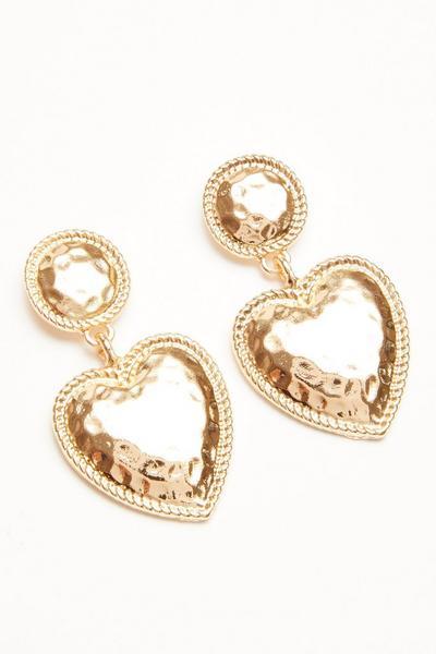 Gold Heart Drop Earrings