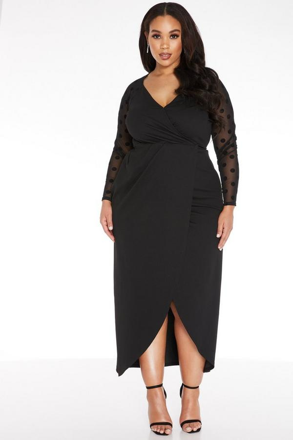 Plus Size Black Wrap Maxi Dress