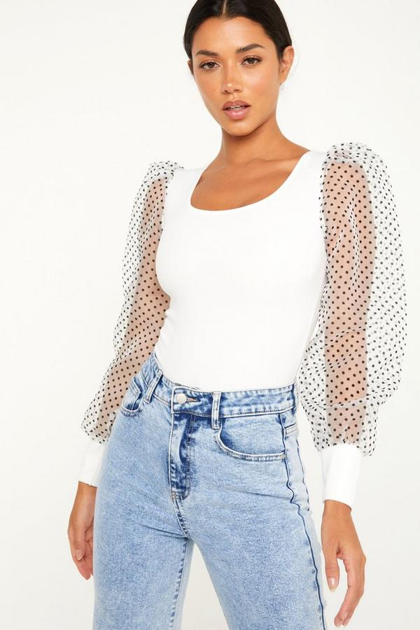 White Polka Dot Sleeve Bodysuit