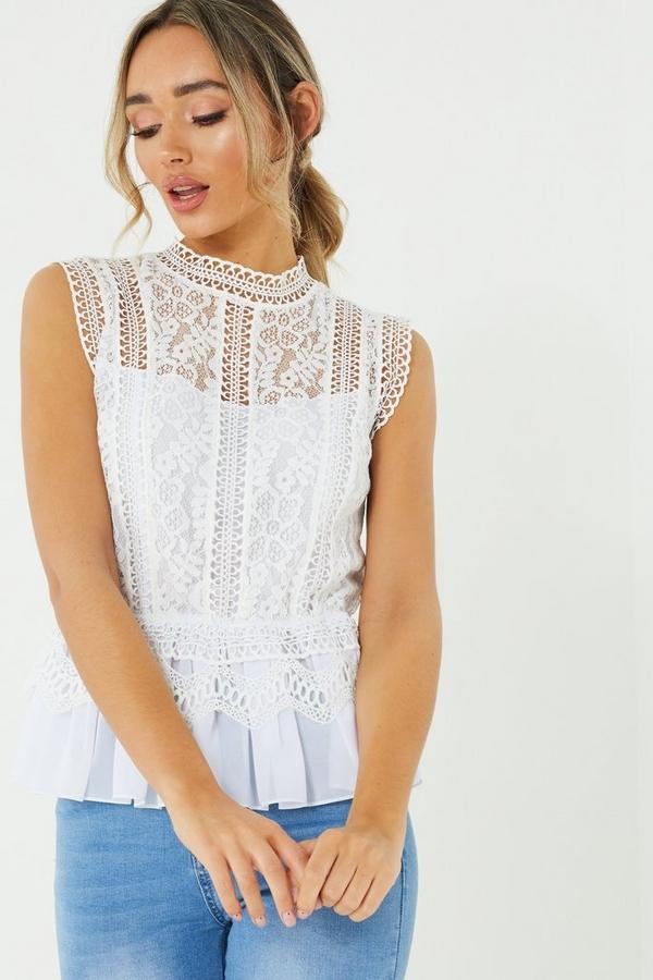 Cream Crochet Turtle Neck Top