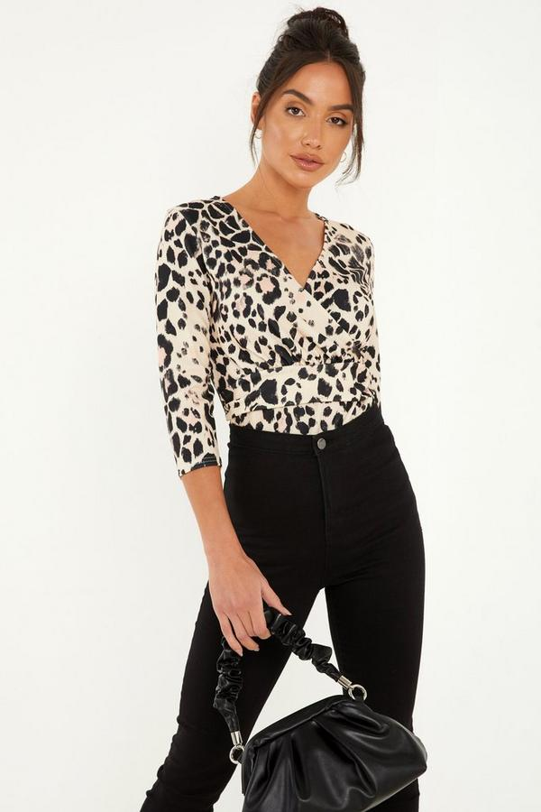 Stone Animal Print Wrap Top
