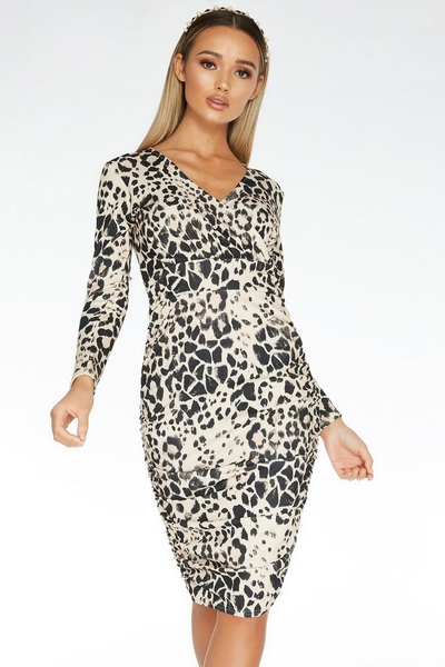 Stone Animal Print Wrap Dress
