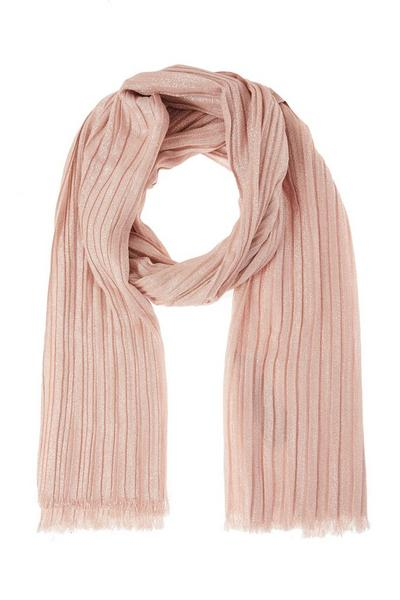 Pink Shimmer Pleated Scarf