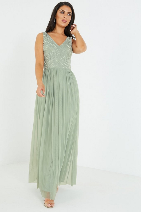 Sage Embellished Maxi Dress