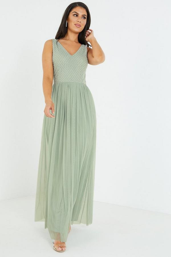Sage Embellished Maxi Dress