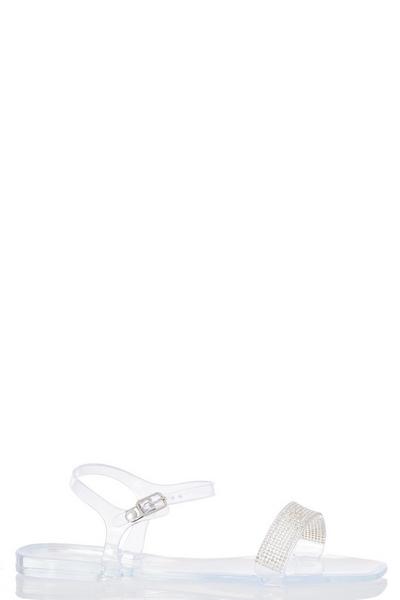 Clear Diamante Flat Sandal