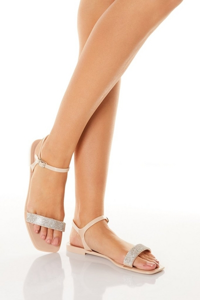 Pink Diamante Flat Sandal