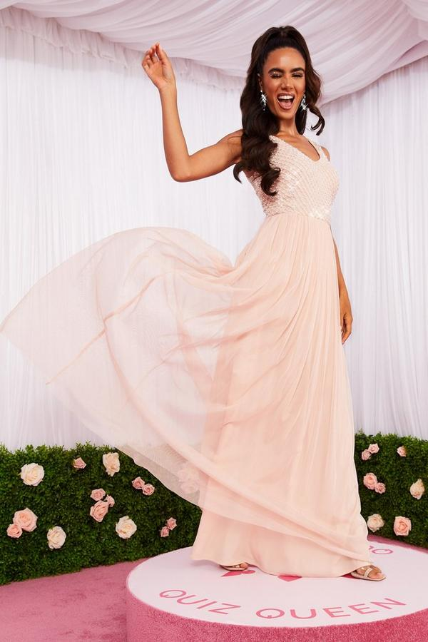 Blush Pink Embellished Maxi Dress
