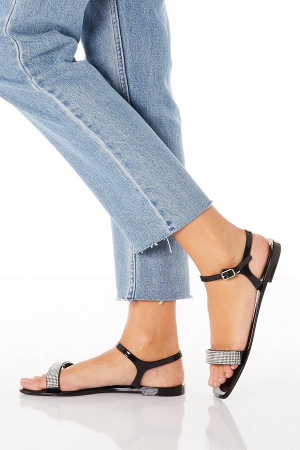 Black Diamante Flat Sandal