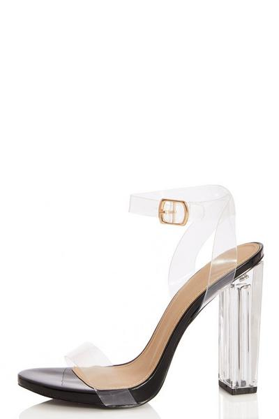 Black Clear Block Heel Sandals