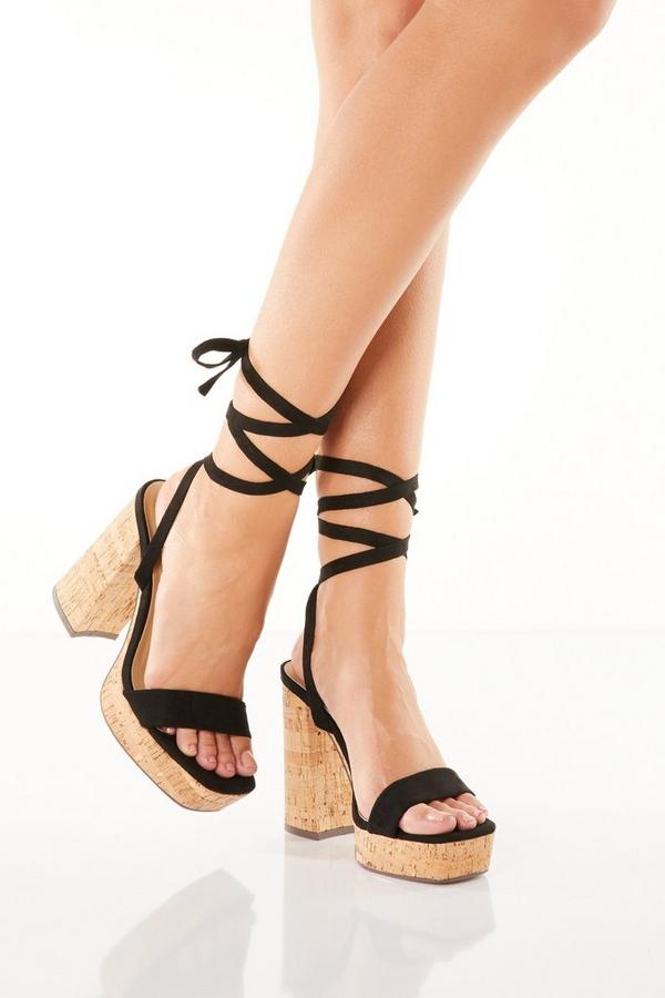 Black Tie Up Chunky Heels