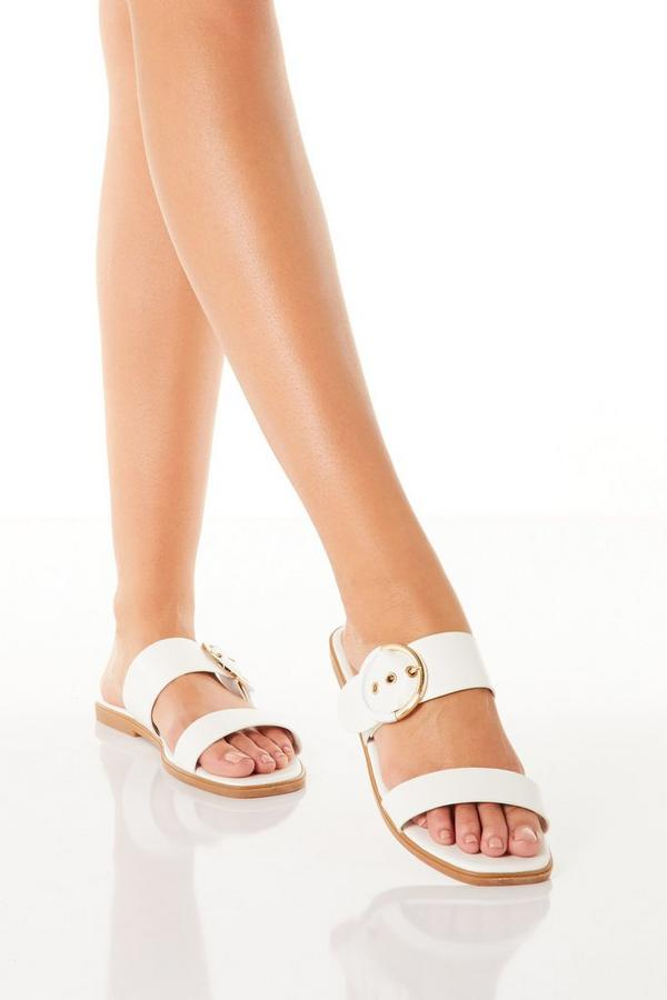 White Faux Leather Buckle Flat Sandals