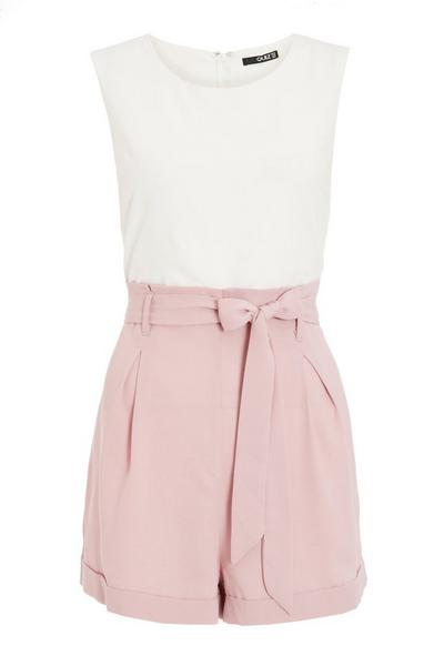 Cream & Pink Belted Playsuit