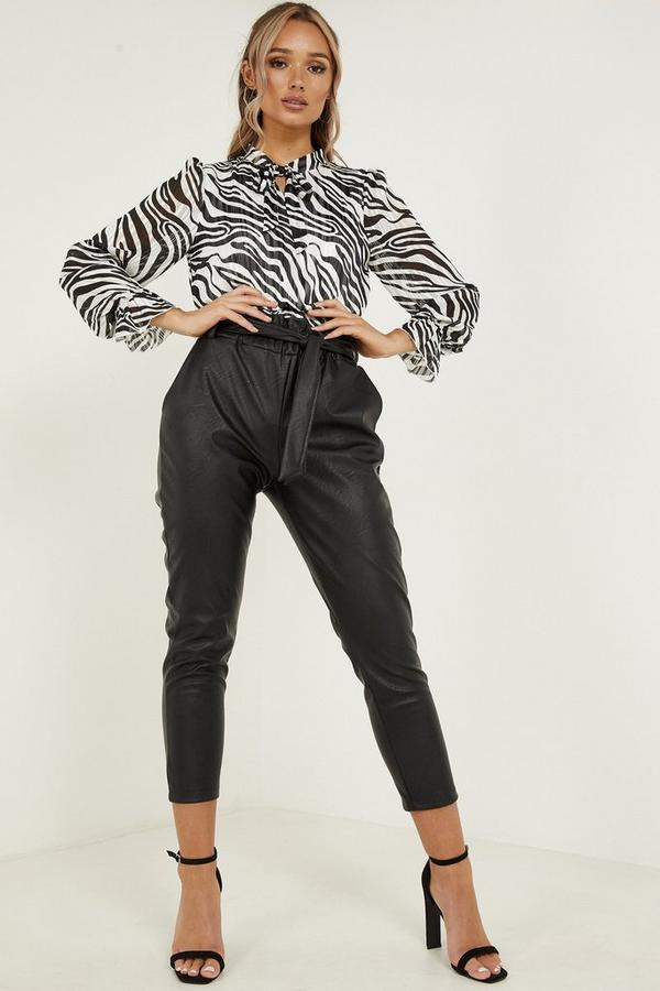 Q x Joanna Chimonides Black Faux Leather Tapered Trousers